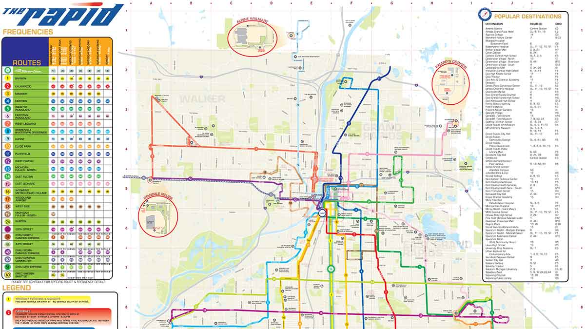 Grand Rapids Bus Routes Map