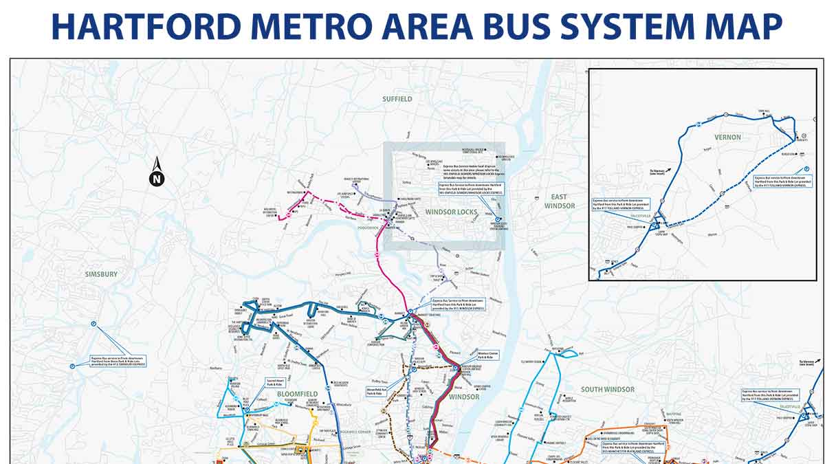 Hartford-New Haven Bus Routes Map