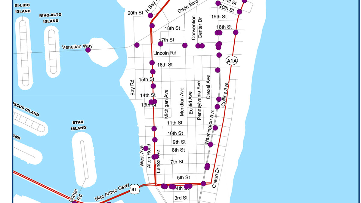 Miami Bus Shelters Map