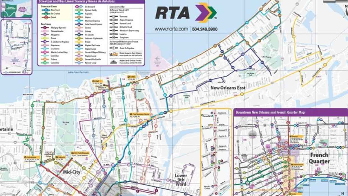 New Orleans Bus Routes Map