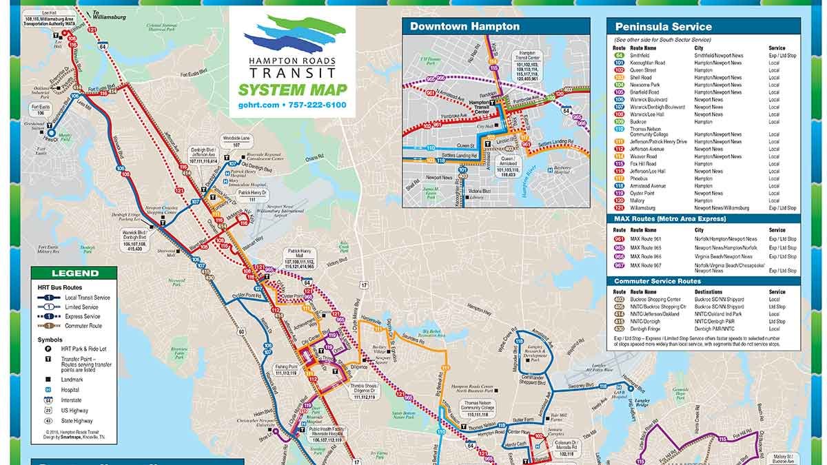 Norfolk, Portsmouth and Newport News Bus Routes Map