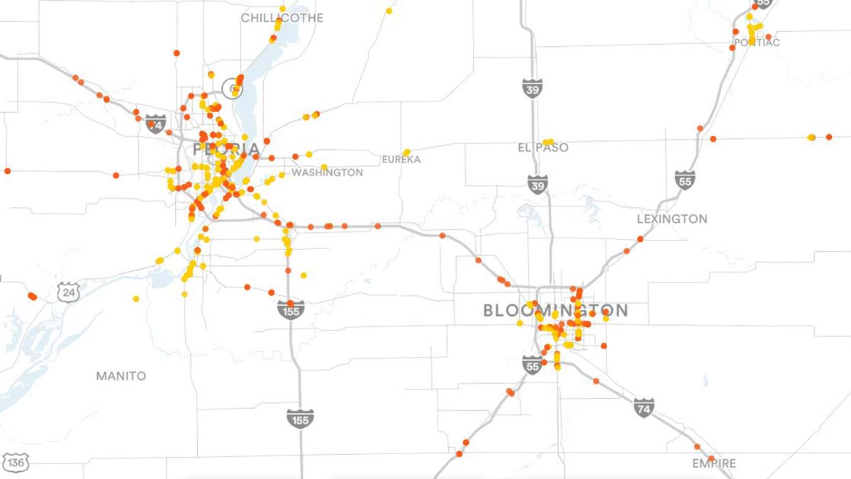 Peoria, IL and Bloomington, IL Billboards Map