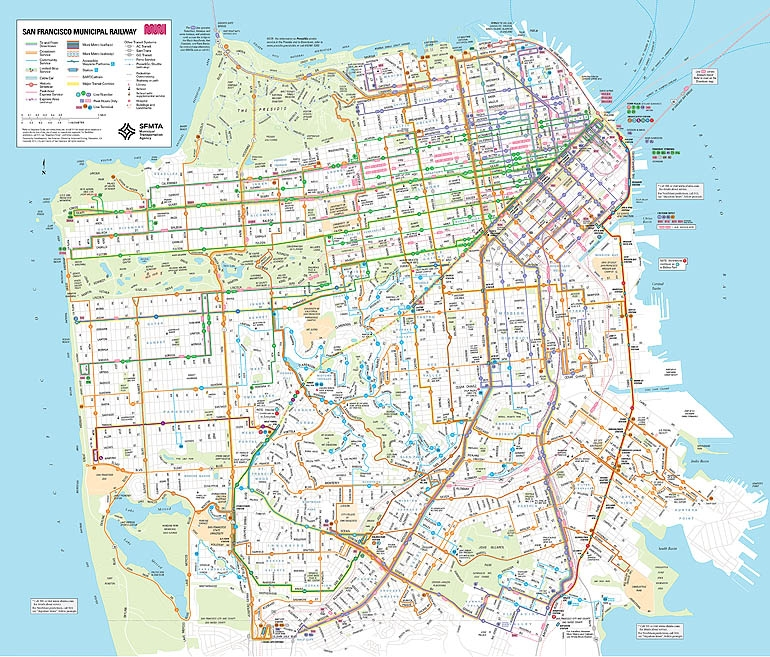 San Francisco Bus Routes Map