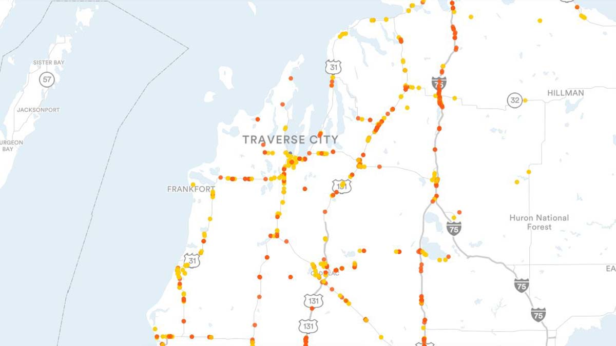 Traverse City, MI Billboards Map