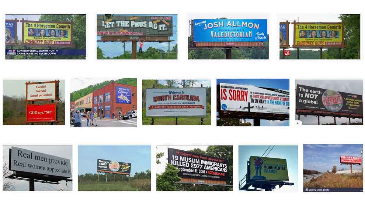 North Carolina, NC Billboards