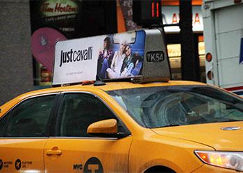Roberto Cavalli Advertises On New York City Taxi Cabs