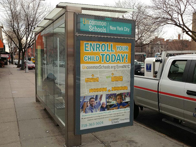 Bus Stop Shelter Ads for Uncommon Schools