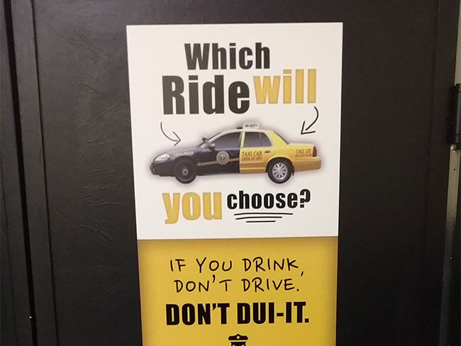 W Virginia Dept Of Transportation Places DUI Prevention Ads In - Restaurant table advertising